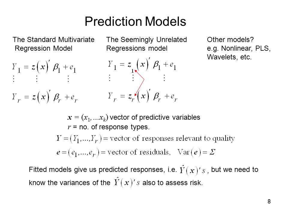 Prediction Models x = (x1,…xk) vector of predictive variables