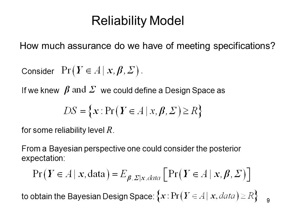 Reliability Model How much assurance do we have of meeting specifications Consider. If we knew we could define a Design Space as.