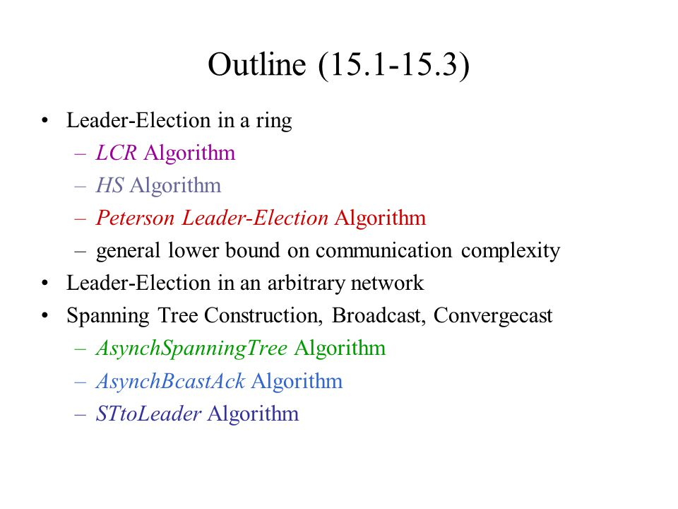 Outline (15.1-15.3) Leader-Election in a ring LCR Algorithm
