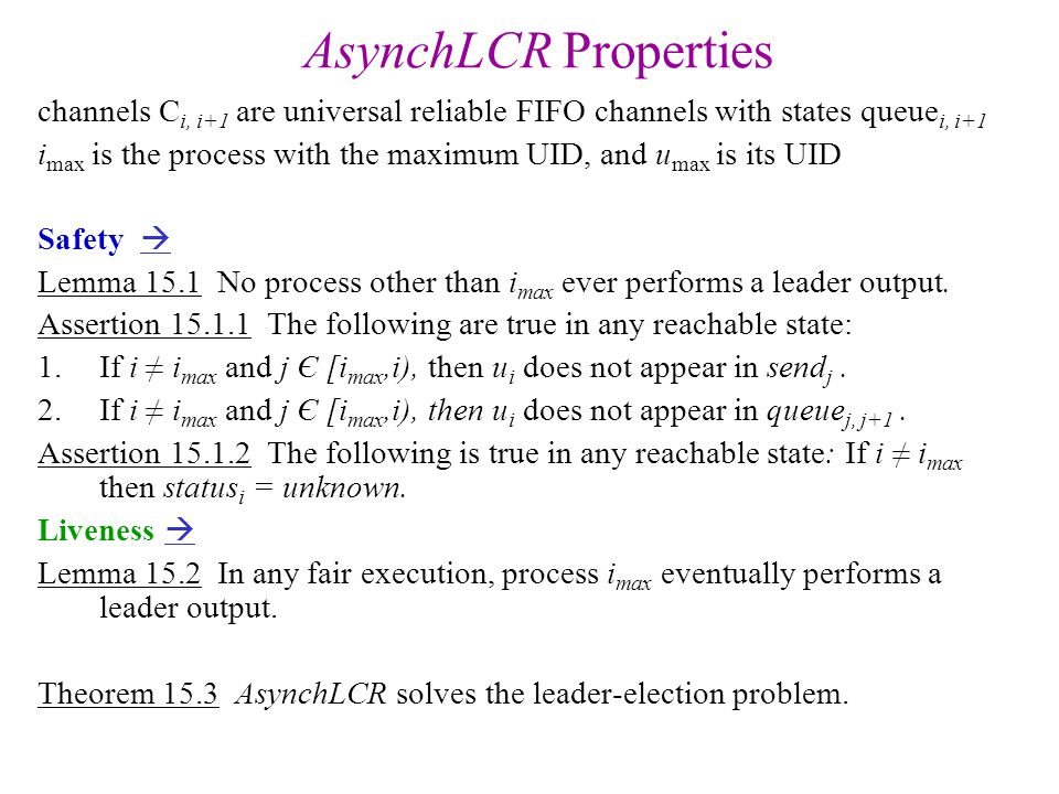 AsynchLCR Properties channels Ci, i+1 are universal reliable FIFO channels with states queuei, i+1.