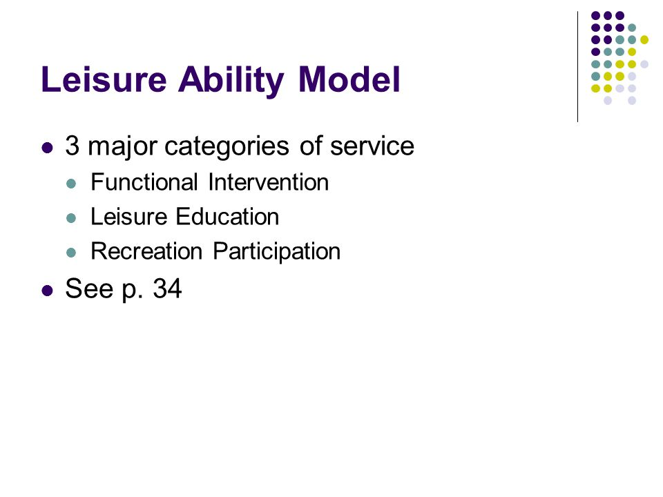Leisure Ability Model 3 major categories of service See p. 34