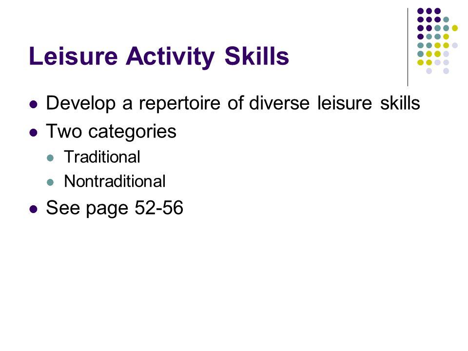 Leisure Activity Skills