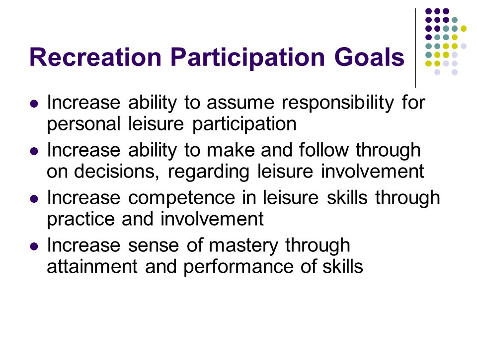 Recreation Participation Goals
