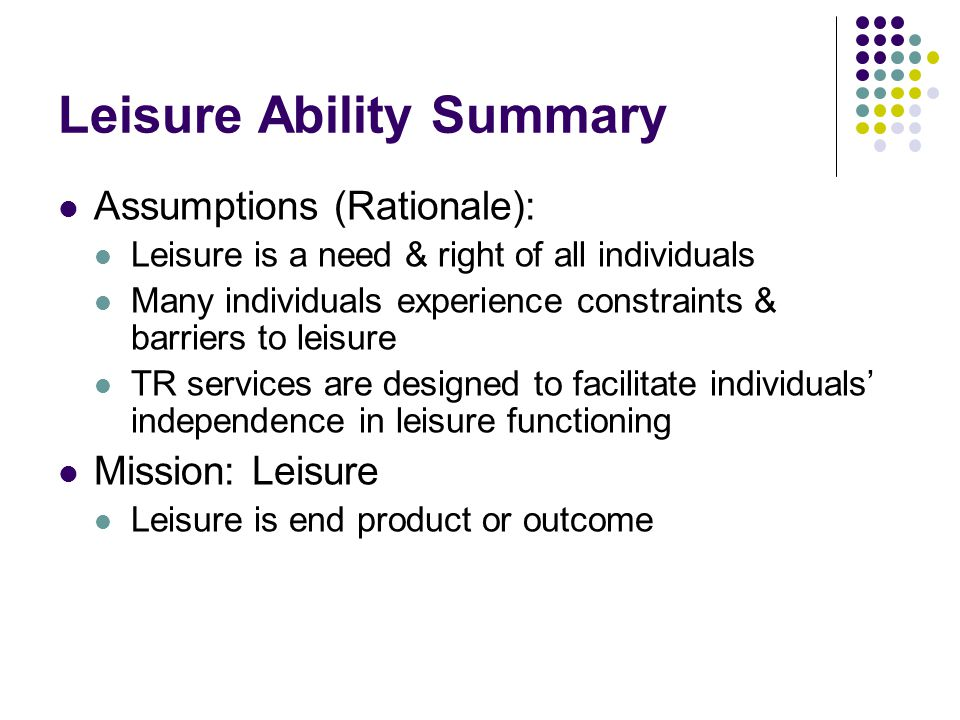 Leisure Ability Summary