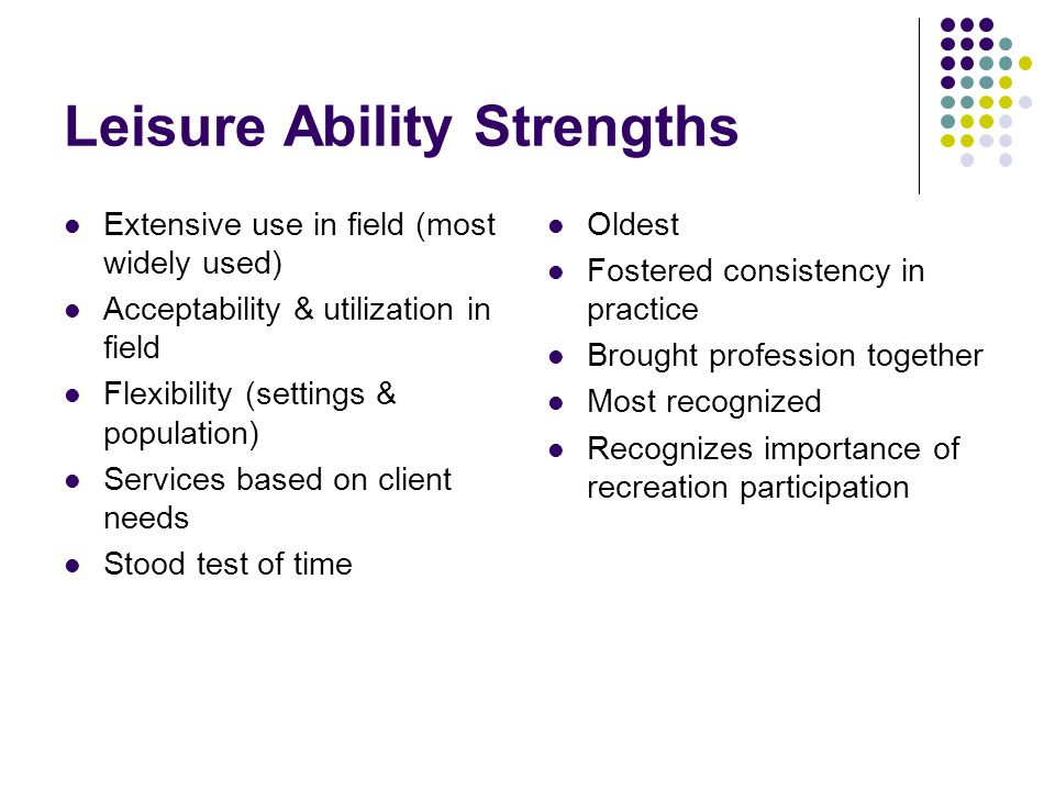 Leisure Ability Strengths