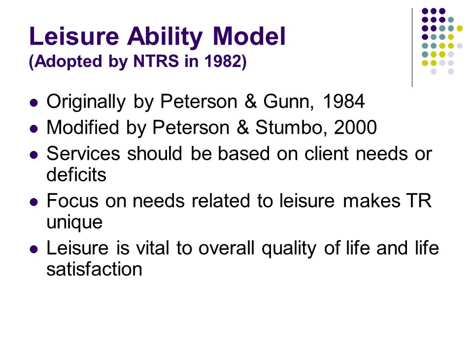 Leisure Ability Model (Adopted by NTRS in 1982)