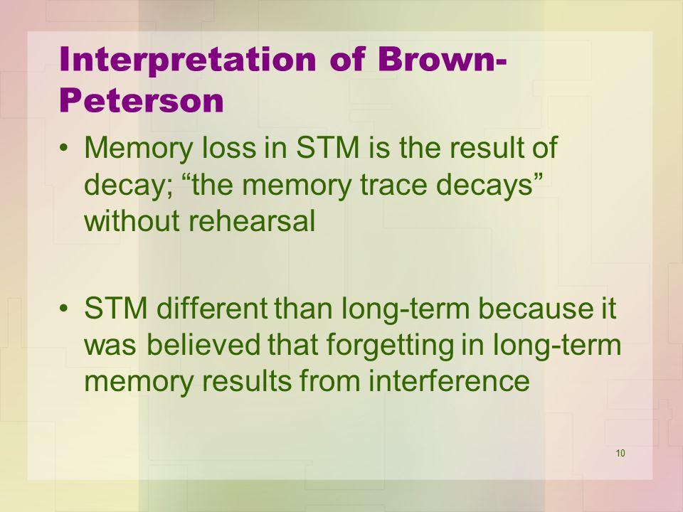 Interpretation of Brown-Peterson