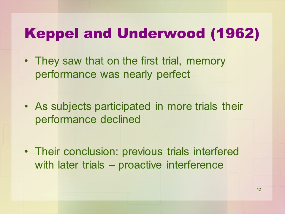 Keppel and Underwood (1962)