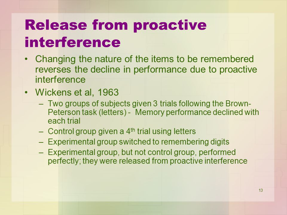 Release from proactive interference