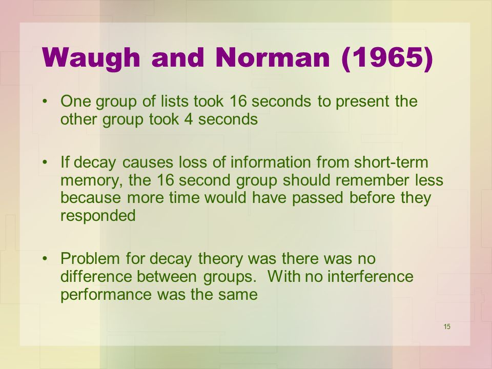 Waugh and Norman (1965) One group of lists took 16 seconds to present the other group took 4 seconds.