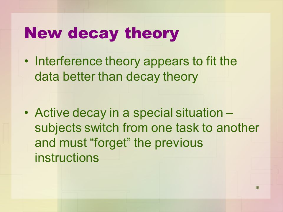 New decay theory Interference theory appears to fit the data better than decay theory.