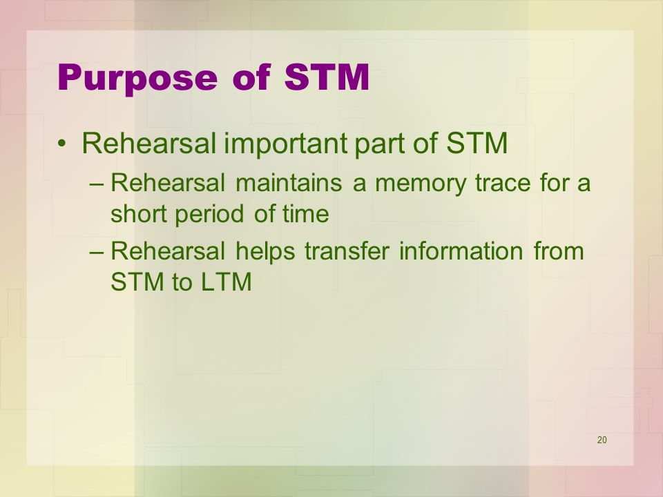 Purpose of STM Rehearsal important part of STM