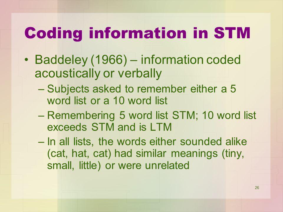 Coding information in STM