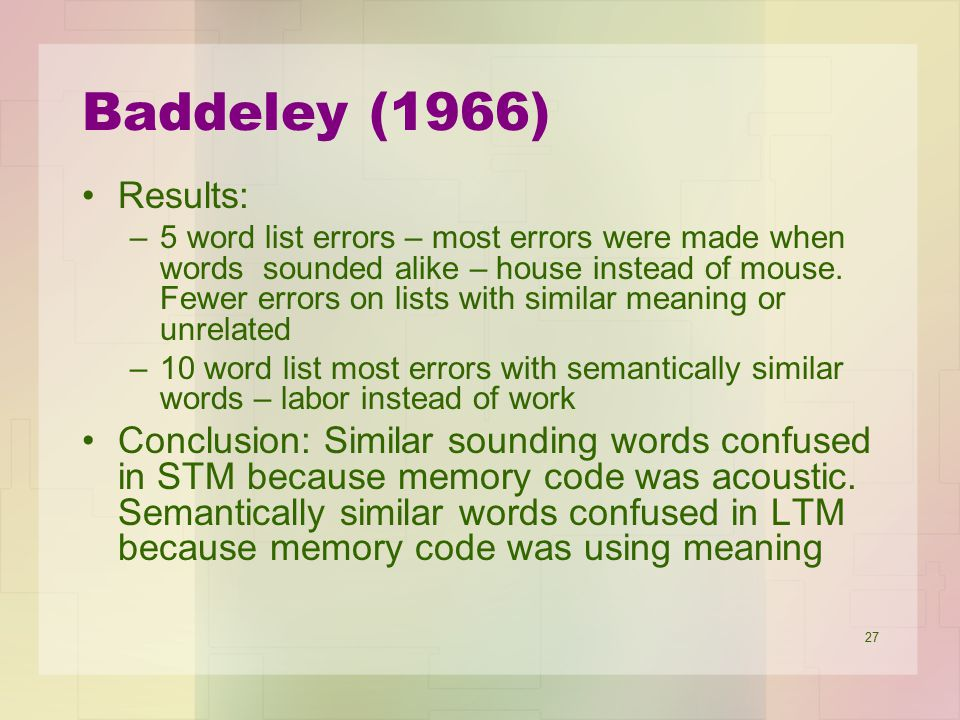 Baddeley (1966) Results: