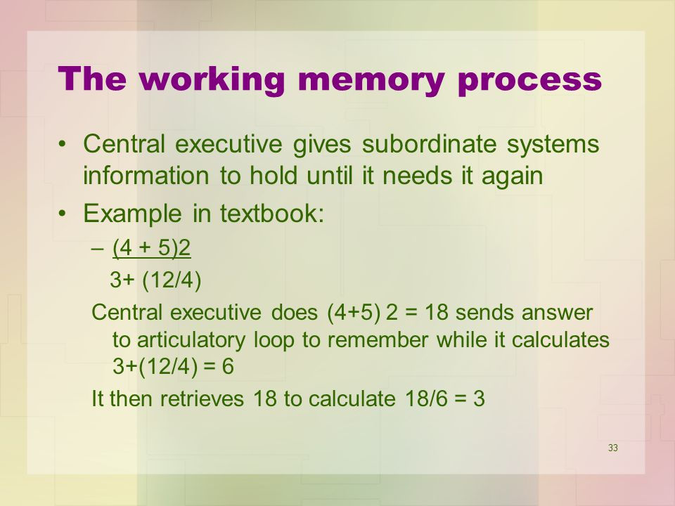 The working memory process