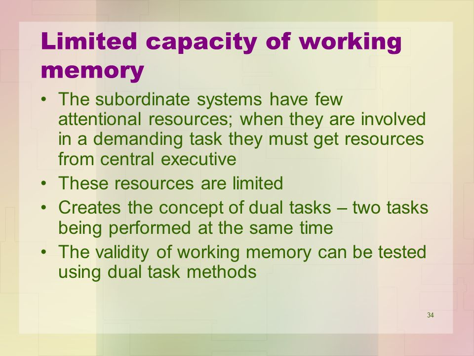 Limited capacity of working memory