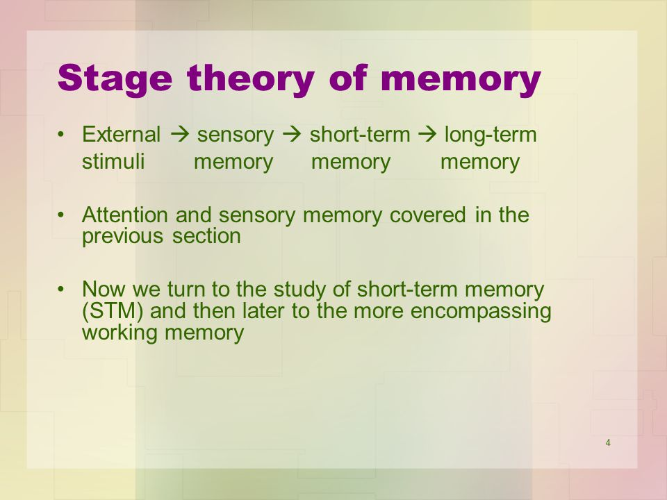 Stage theory of memory External  sensory  short-term  long-term