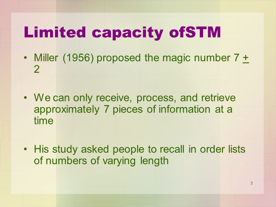 Limited capacity ofSTM