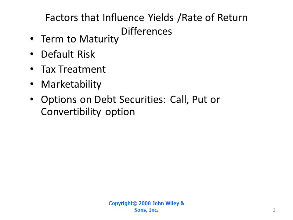 Factors that Influence Yields /Rate of Return Differences