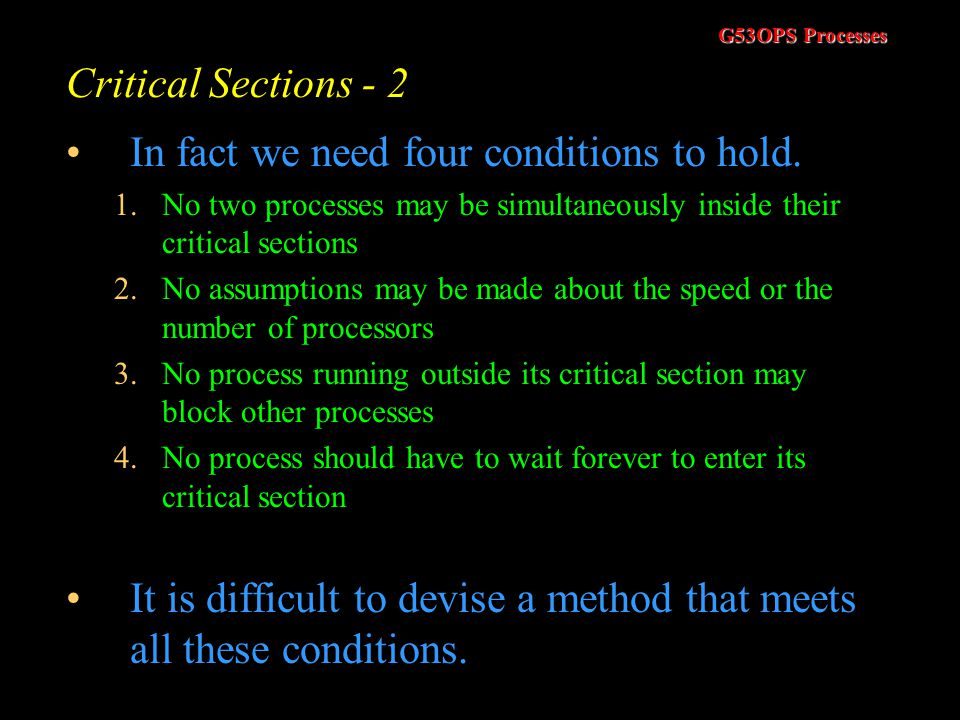 In fact we need four conditions to hold.