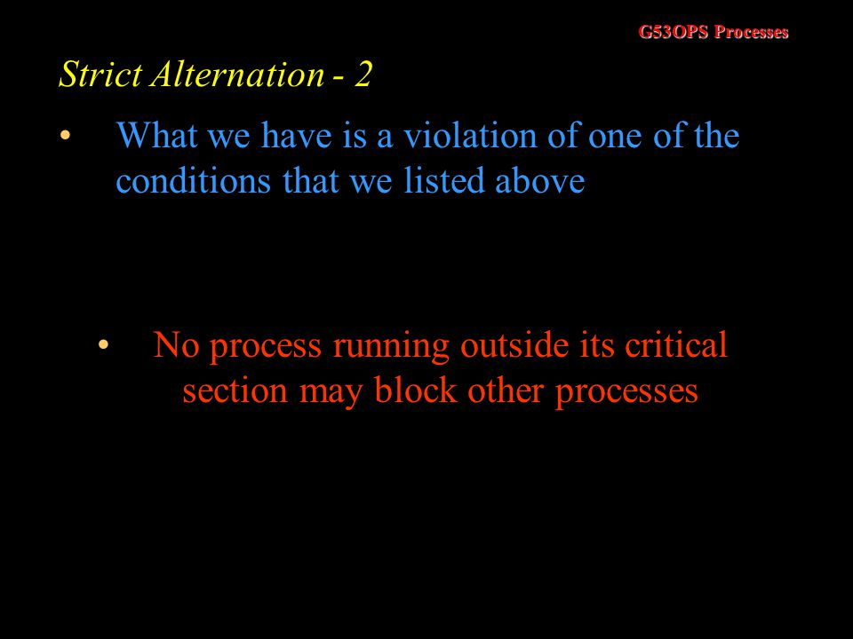 Strict Alternation - 2 What we have is a violation of one of the conditions that we listed above.