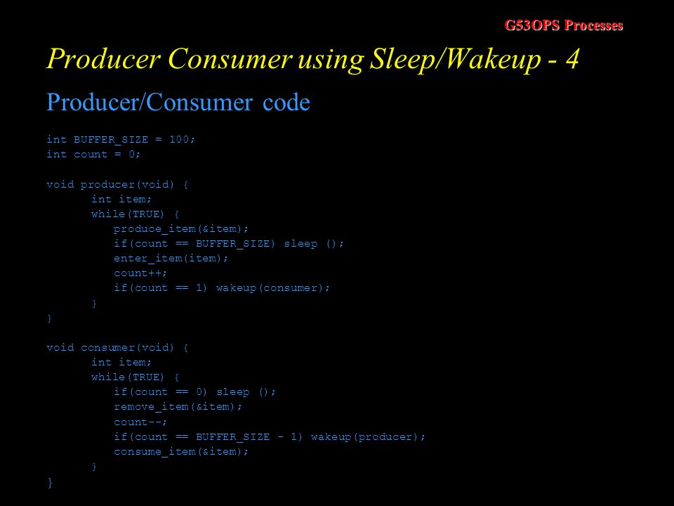 Producer Consumer using Sleep/Wakeup - 4