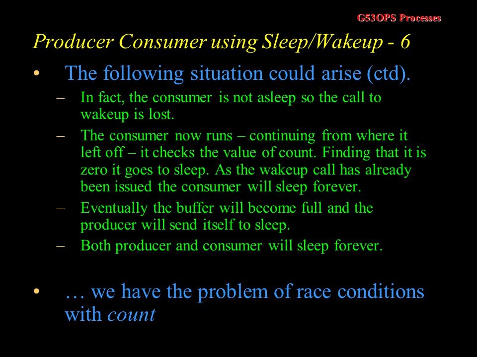 Producer Consumer using Sleep/Wakeup - 6
