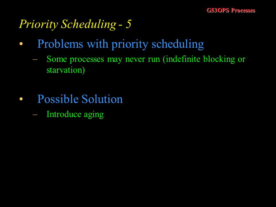 Problems with priority scheduling