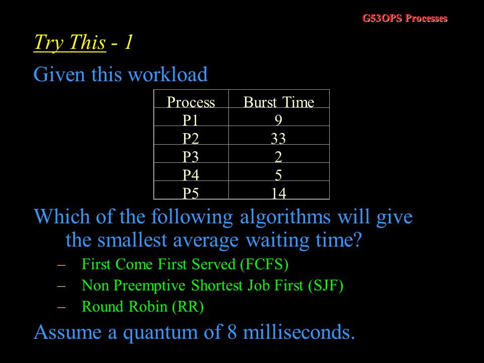 Assume a quantum of 8 milliseconds.