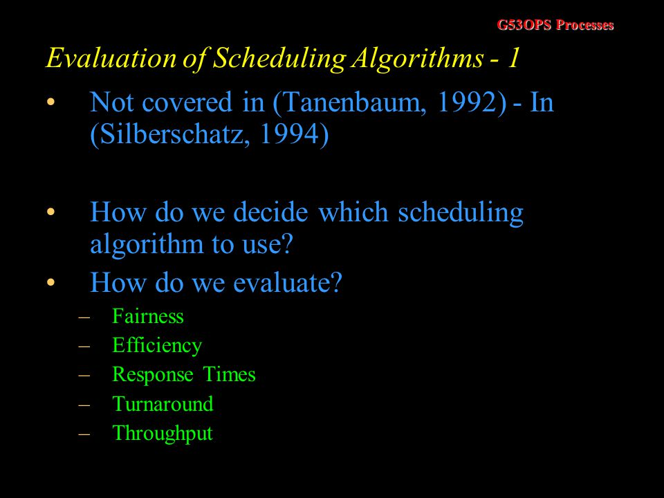 Evaluation of Scheduling Algorithms - 1