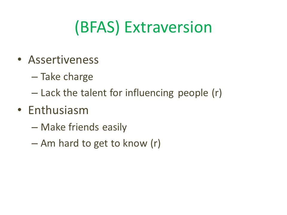 (BFAS) Extraversion Assertiveness Enthusiasm Take charge