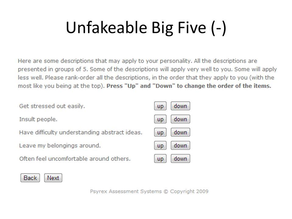 Unfakeable Big Five (-)