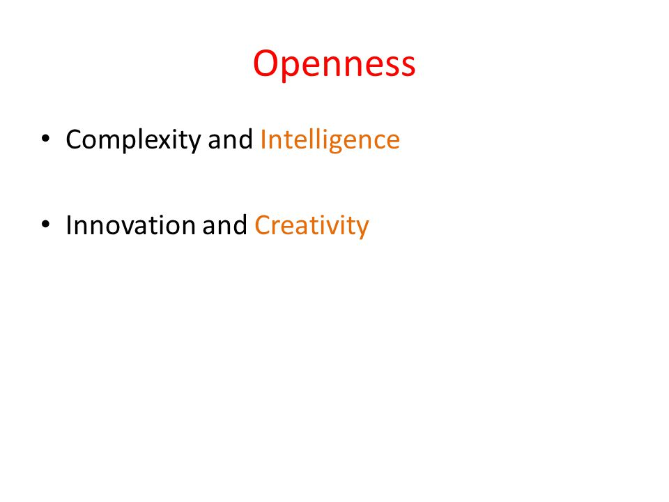 Openness Complexity and Intelligence Innovation and Creativity