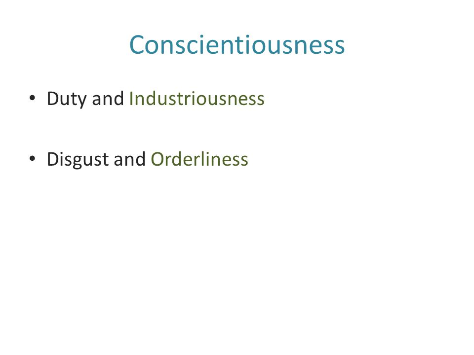 Conscientiousness Duty and Industriousness Disgust and Orderliness