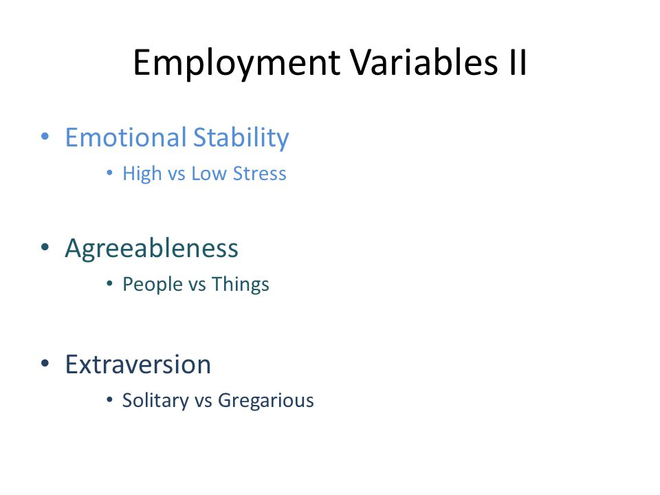 Employment Variables II