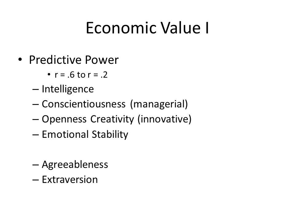 Economic Value I Predictive Power Intelligence