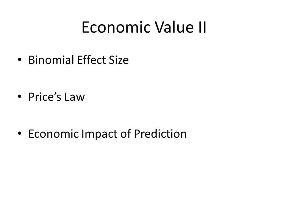 Economic Value II Binomial Effect Size Price's Law