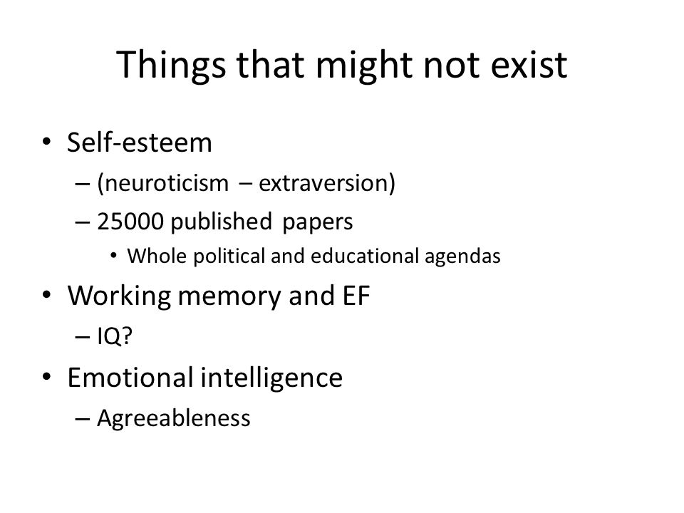 Things that might not exist