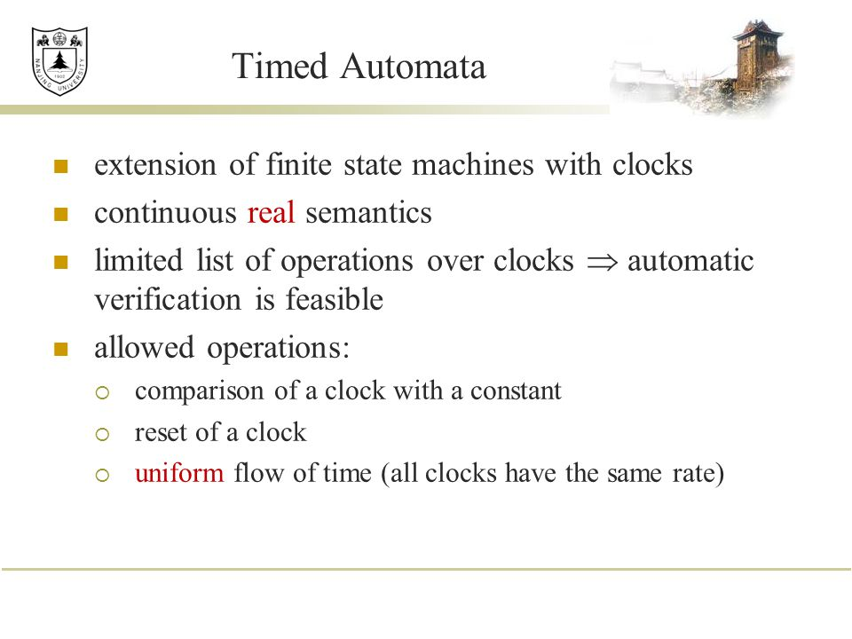 Timed Automata extension of finite state machines with clocks