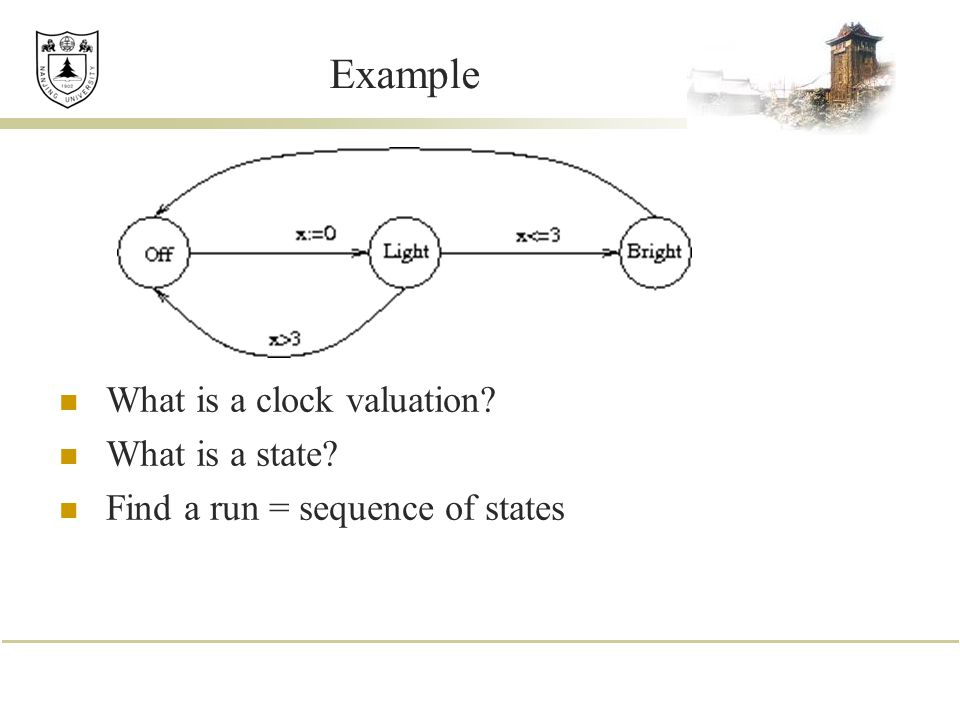 Example What is a clock valuation What is a state
