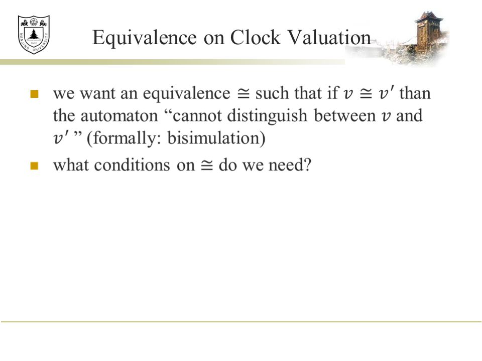 Equivalence on Clock Valuation