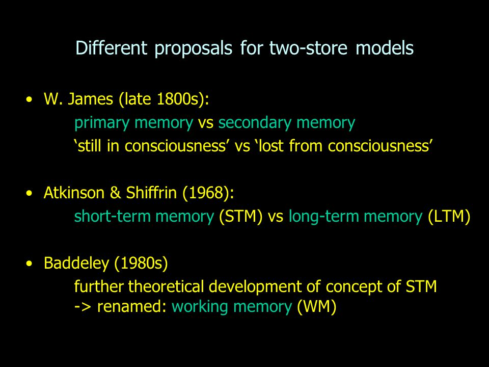 Different proposals for two-store models