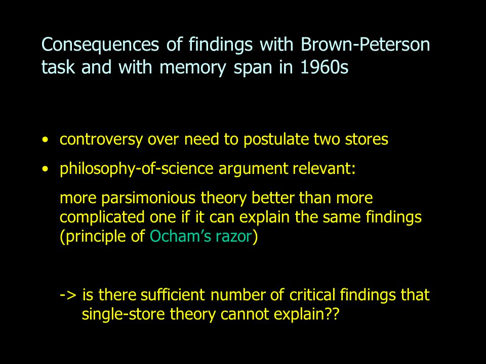 Consequences of findings with Brown-Peterson task and with memory span in 1960s