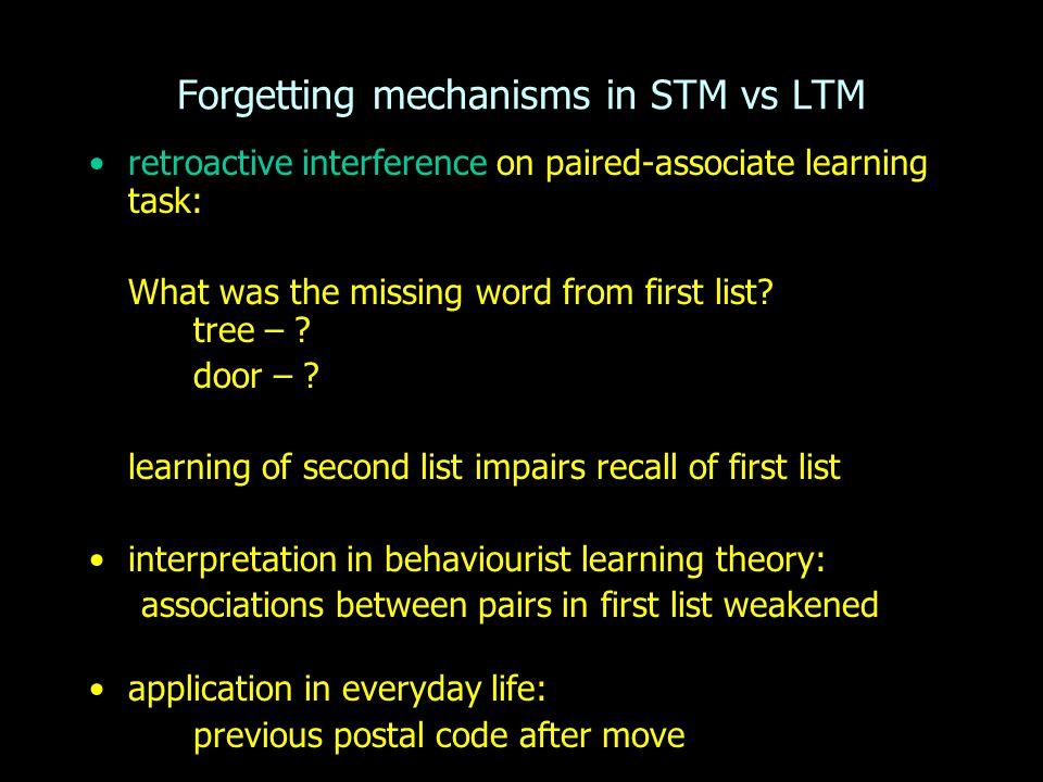 Forgetting mechanisms in STM vs LTM