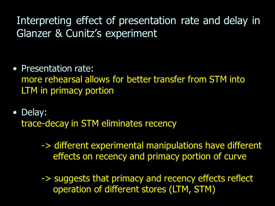 Interpreting effect of presentation rate and delay in Glanzer & Cunitz's experiment