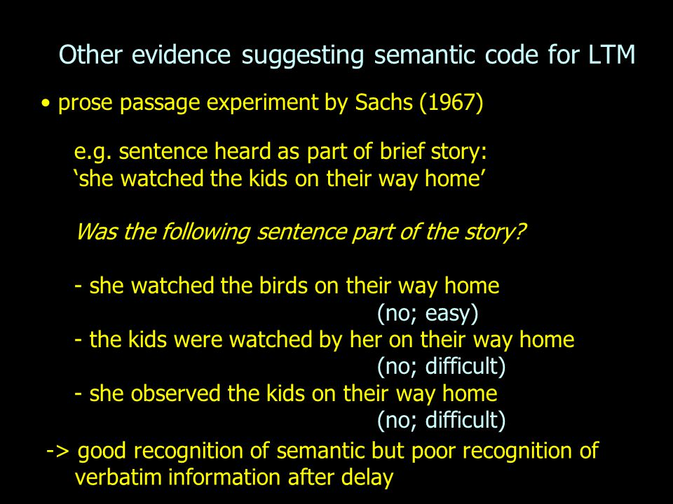 Other evidence suggesting semantic code for LTM