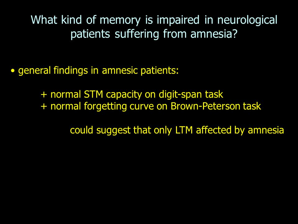 What kind of memory is impaired in neurological patients suffering from amnesia