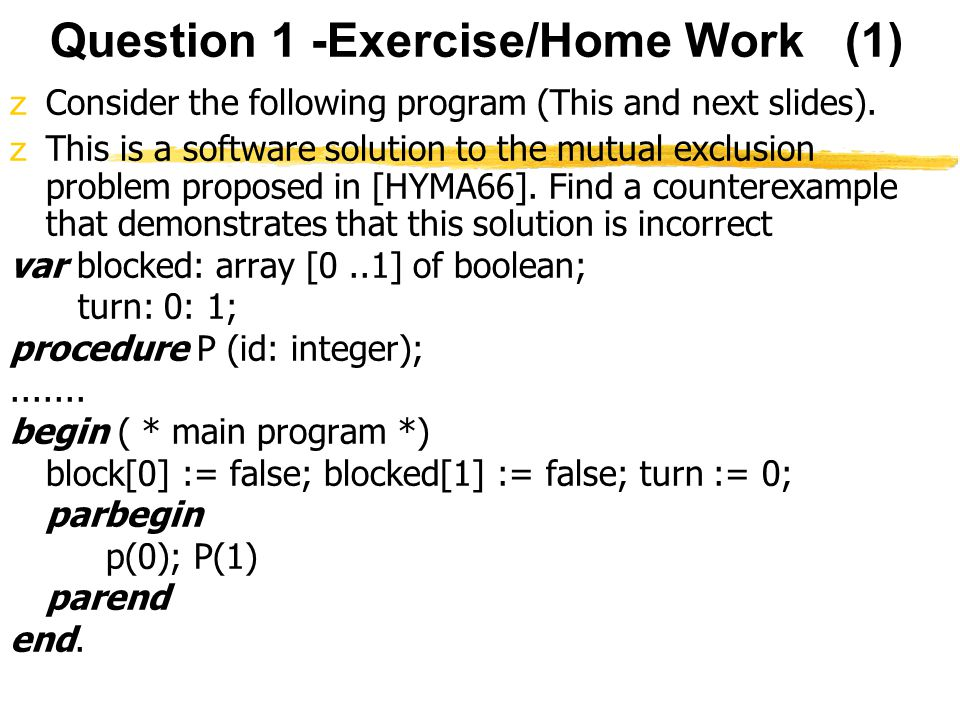 Question 1 -Exercise/Home Work (1)