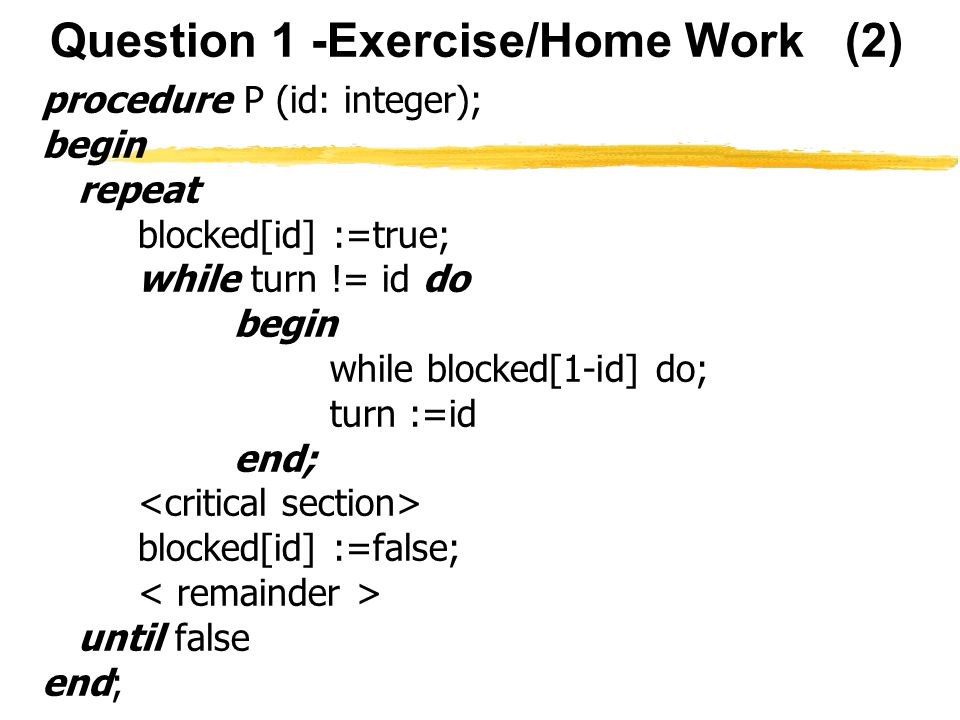 Question 1 -Exercise/Home Work (2)