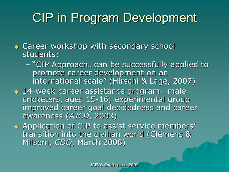 CIP in Program Development